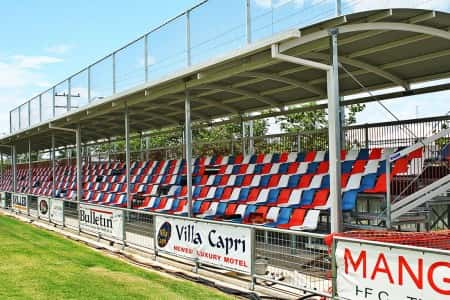 GC6+B Curved Roof Covered Grandstand with Bucket Seats and Backnetting and