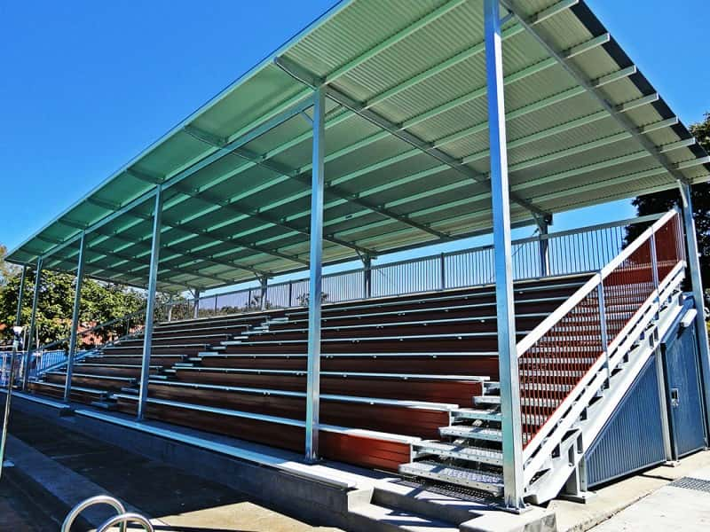 GC6+L Shaded Bleachers with Lockable Storage