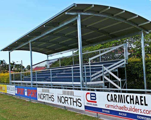 GC6+W Curved Roof Covered Grandstand with Access Walkway