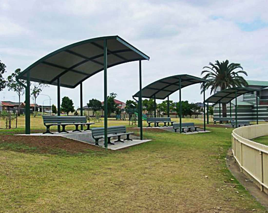 Outdoor shade structures shade shelters australia steel for Metal sun shade structures