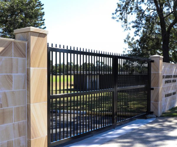 Sandstone Tiled Wall & Double Leaf Entry Gate (2)
